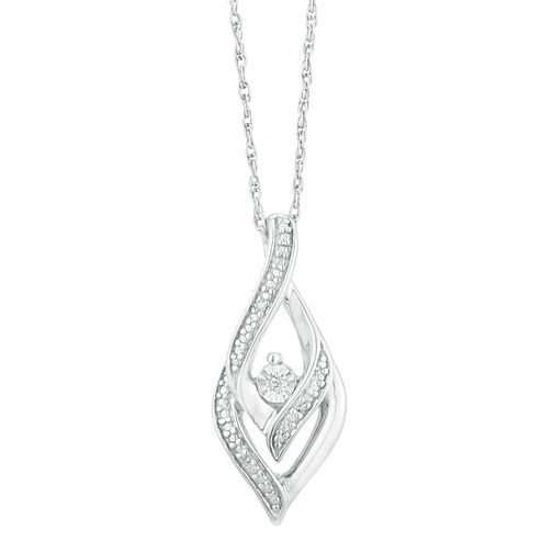 Silver & Diamond Tear Drop Pendant - Product number 9330690