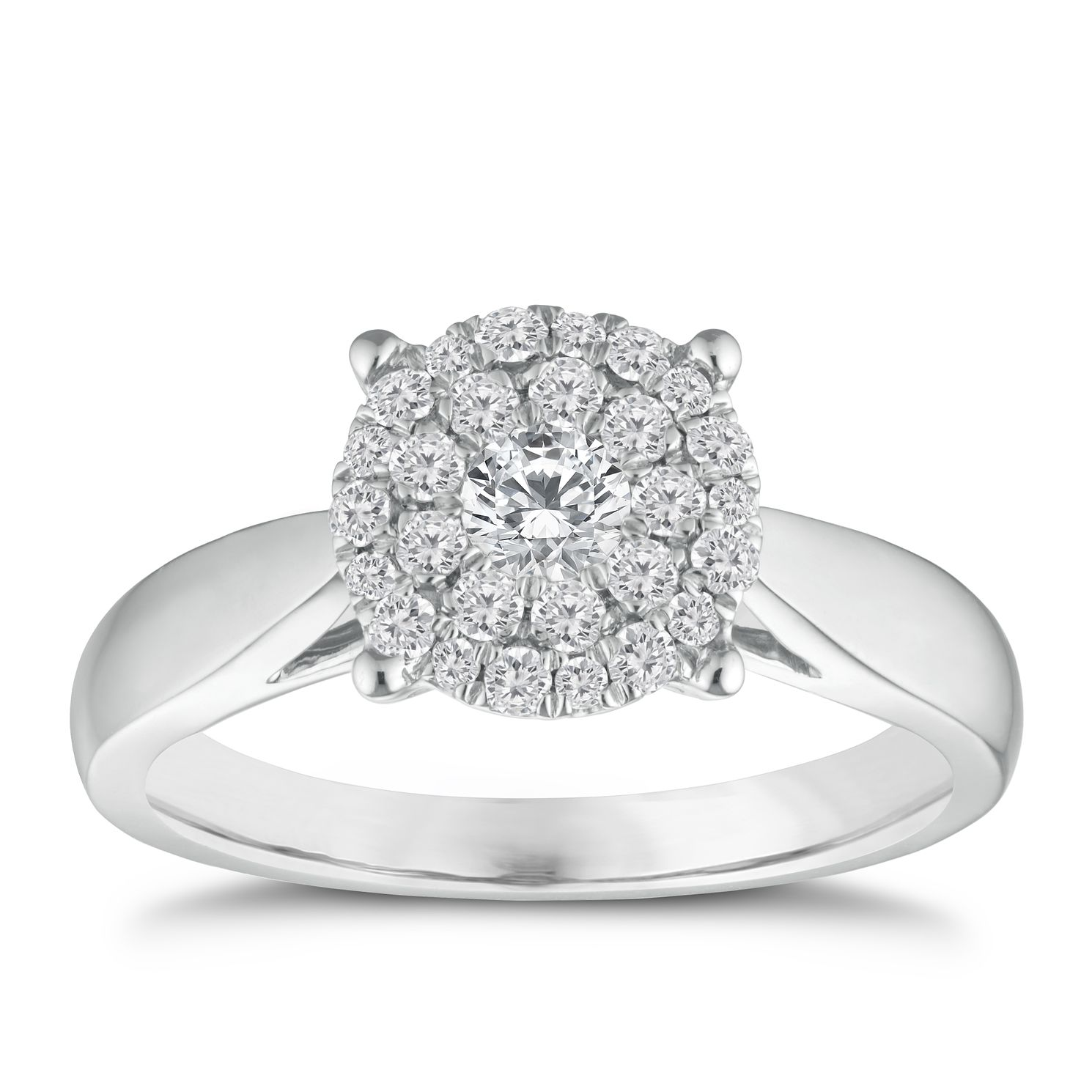 18ct White Gold 0.50ct Total Diamond Cluster Ring - Product number 9337873