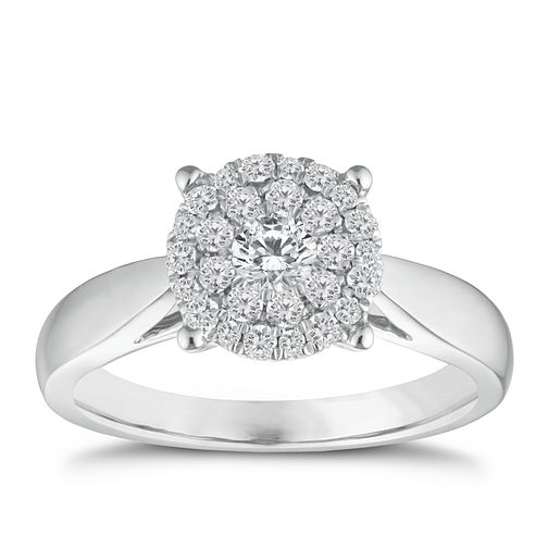 18ct white gold 1/2ct diamond cluster ring - Product number 9337873