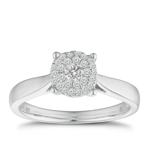 18ct white gold 1/4ct diamond cluster ring - Product number 9338012