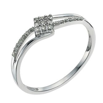 9ct white gold 1/10ct diamond crossover ring - Product number 9339353
