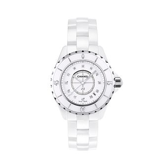 Chanel J12 white ceramic diamond set bracelet watch - Product number 9339639