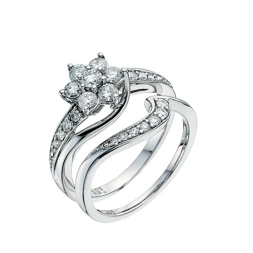 9ct White Gold 3/4ct Diamond Perfect Fit Bridal Set - Product number 9351396
