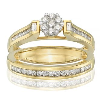 Perfect Fit 18ct Yellow Gold 1/2ct Diamond Flower Bridal Set - Product number 9351574