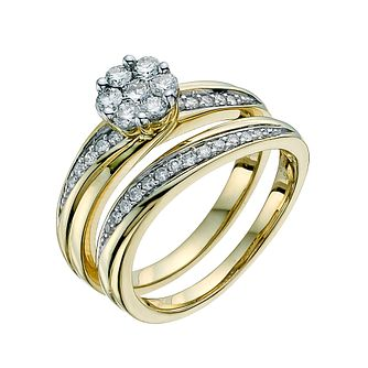 Perfect Fit 9ct Yellow Gold 1/2ct Diamond Bridal Set - Product number 9351841