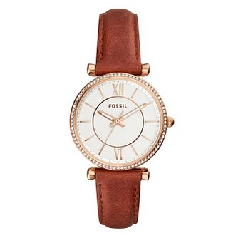 Fossil Carlie Ladies' Rose Gold Plated Strap Watch - Product number 9390359