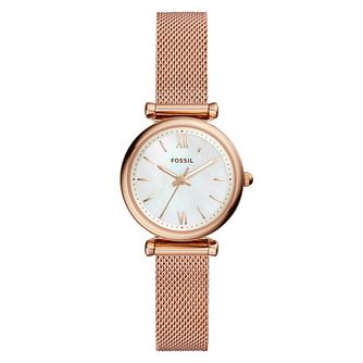 Fossil Carlie Ladies' Rose Gold Bracelet Watch - Product number 9390391