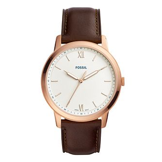Fossil Men'S Minimalist Rose Gold Plated Strap Watch - Product number 9390480