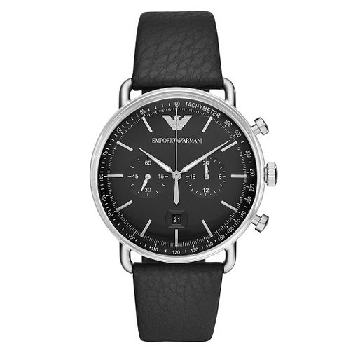 Emporio Armani Men's Black Leather Strap Watch - Product number 9390820