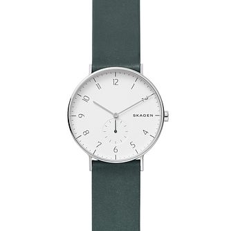 Skagen Aaren Men's Green Leather Strap Watch - Product number 9391258