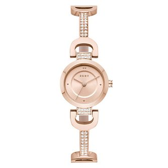 DKNY Ladies' Reade Rose Gold Tone Crystal Bracelet Watch - Product number 9391371