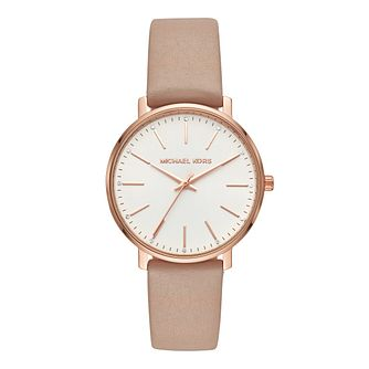 Michael Kors Pyper Ladies' Pink Leather Strap Watch - Product number 9391576