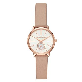 Michael Kors Portia Ladies' Yellow Gold Plated Strap Watch - Product number 9391614