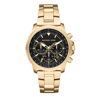 Michael Kors Cortlandt Men's Gold Plated Bracelet Watch - Product number 9393056