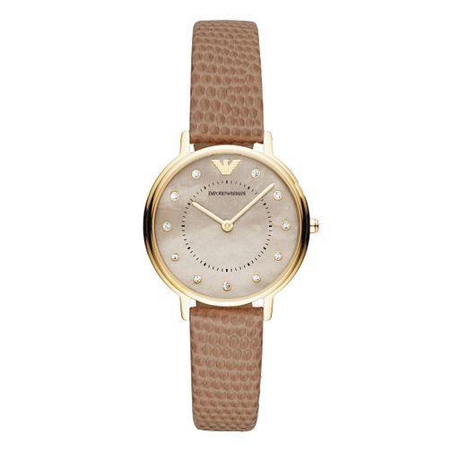 Emporio Armani Ladies' Taupe Leather Strap Watch - Product number 9393145