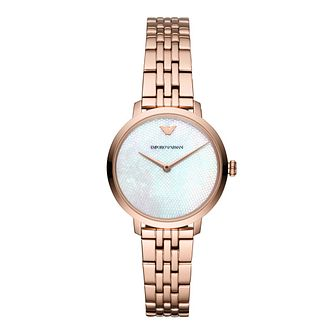 Emporio Armani Ladies Rose Gold Mother of Pearl Watch - Product number 9393188