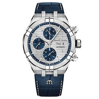 Maurice Lacroix Aikon Men's Blue Leather Strap Watch - Product number 9394478