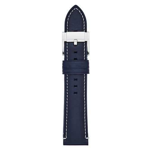 Fossil Men's 22mm Blue Leather Watch Strap - Product number 9394915