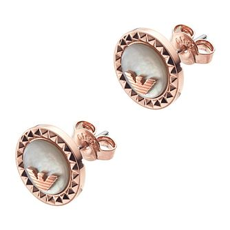 Emporio Armani Rose Gold Tone Caged Logo Stud Earrings - Product number 9396691