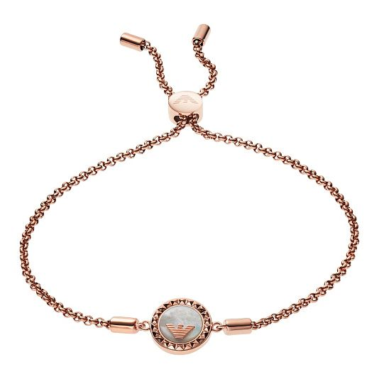 Emporio Armani Rose Gold Plated Caged Logo Bracelet - Product number 9397841