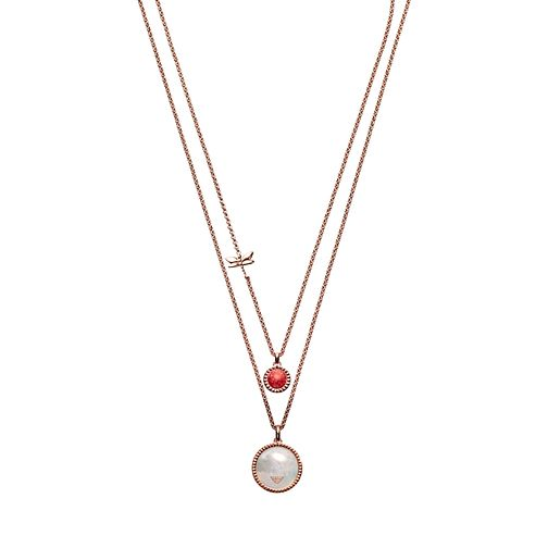 Emporio Armani Rose Gold Plated Caged Double Necklace - Product number 9397906