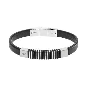 Emporio Armani Men's Stainless Steel Black Leather Bracelet - Product number 9397973