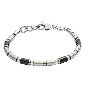 Fossil Men'S Stainless Steel And Onyx Bracelet - Product number 9398864