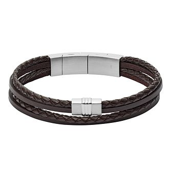 Fossil Vintage Men's Leather Black Bracelet - Product number 9398880