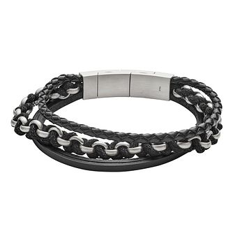 Fossil Vintage Men's Leather Multi Black Bracelet - Product number 9399224