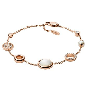Fossil Classic Ladies' Rose Gold Plated Bracelet - Product number 9399410