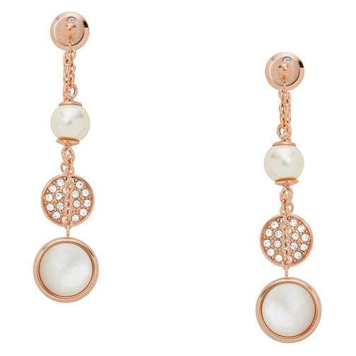 Fossil Classic Ladies' Rose Gold Plated Droplet Earrings - Product number 9399488