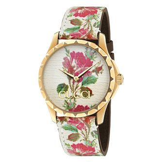 Gucci G-Timeless Floral Cream Leather Strap Watch - Product number 9399860
