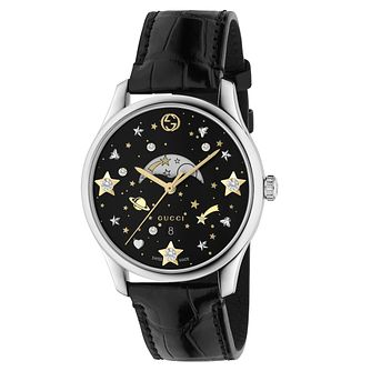 Gucci G-Timeless Moonphase Black Leather Strap Watch - Product number 9399879