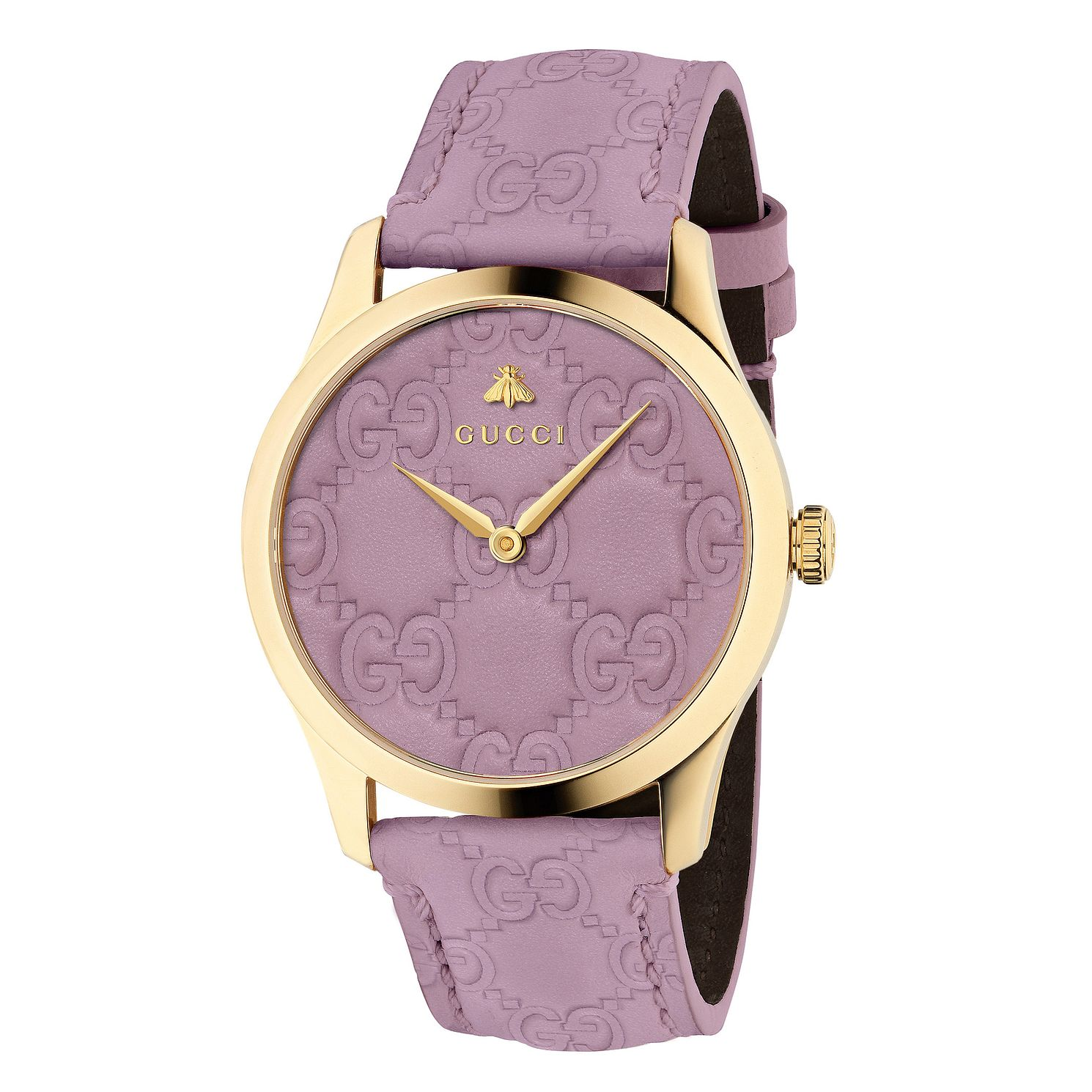 Gucci G-Timeless Signature Lilac Leather Strap Watch - Product number 9399895