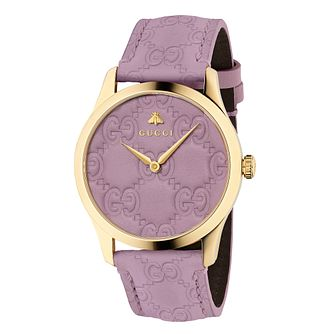 Gucci G-Timeless Signature Ladies' Lilac Leather Strap Watch - Product number 9399895