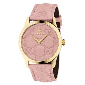 Gucci G-Timeless Signature Unisex Pink Leather Strap Watch - Product number 9399909