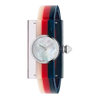 Gucci Perspex Multi-Colour Striped Rubber Bangle Watch - Product number 9399917