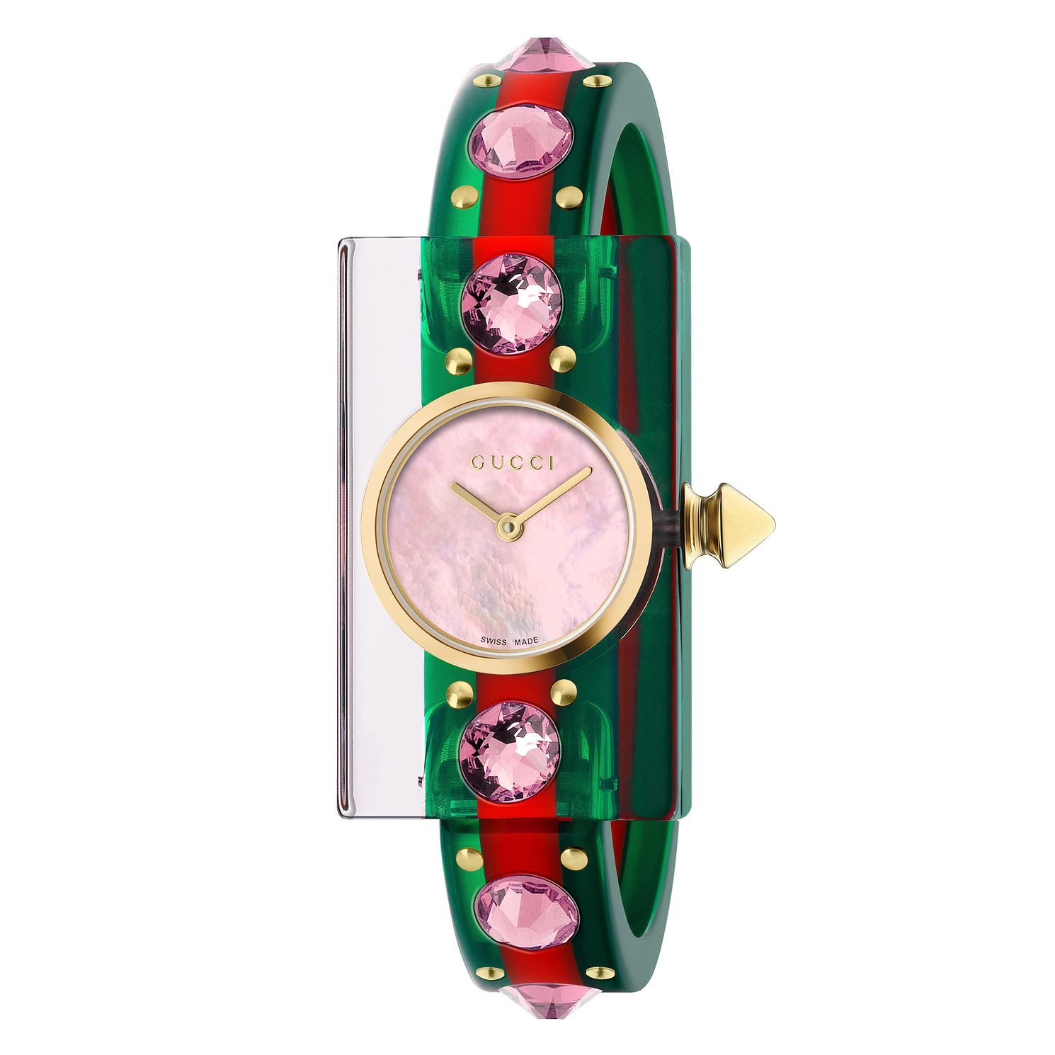 Gucci Vintage Web Plexiglass Striped Rubber Strap Watch - Product number 9399933