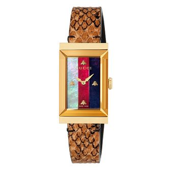 Gucci G-Frame Ladies' Brown Patterned Leather Strap Watch - Product number 9399941