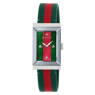 Gucci G-Frame Green & Red Striped Strap Watch - Product number 9399976