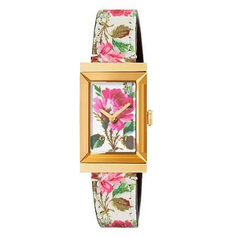 Gucci G- Frame Ladies Gold Flower Leather Strap Watch - Product number 9399992