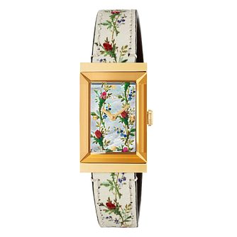 Gucci G-Frame Flower Leather Strap Watch - Product number 9400001
