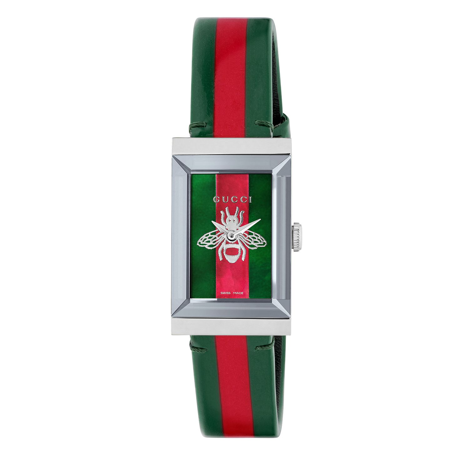 Gucci G-Frame Green & Red Leather Strap Watch - Product number 9400028