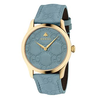 Gucci G-Timeless Signature Unisex Blue Leather Strap Watch - Product number 9400079