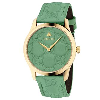 Gucci G-Timeless Signature Unisex Green Leather Strap Watch - Product number 9400087