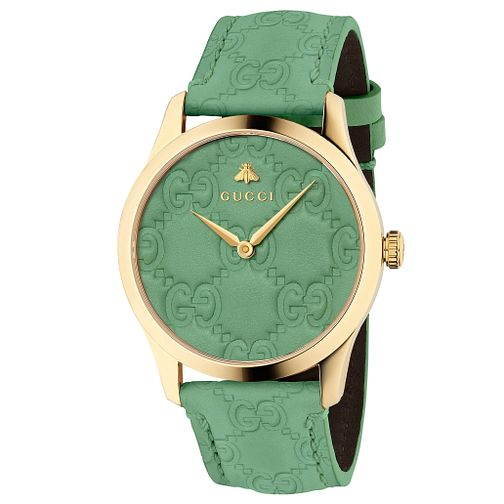 389ad3a95606c Gucci G-Timeless Signature Unisex Green Leather Strap Watch - Product  number 9400087