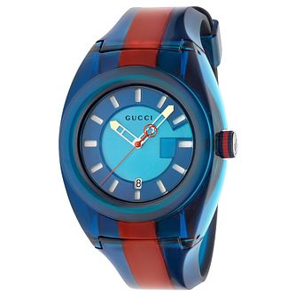 Gucci Sync Men's Blue & Red Stripe Rubber Strap Watch - Product number 9400125