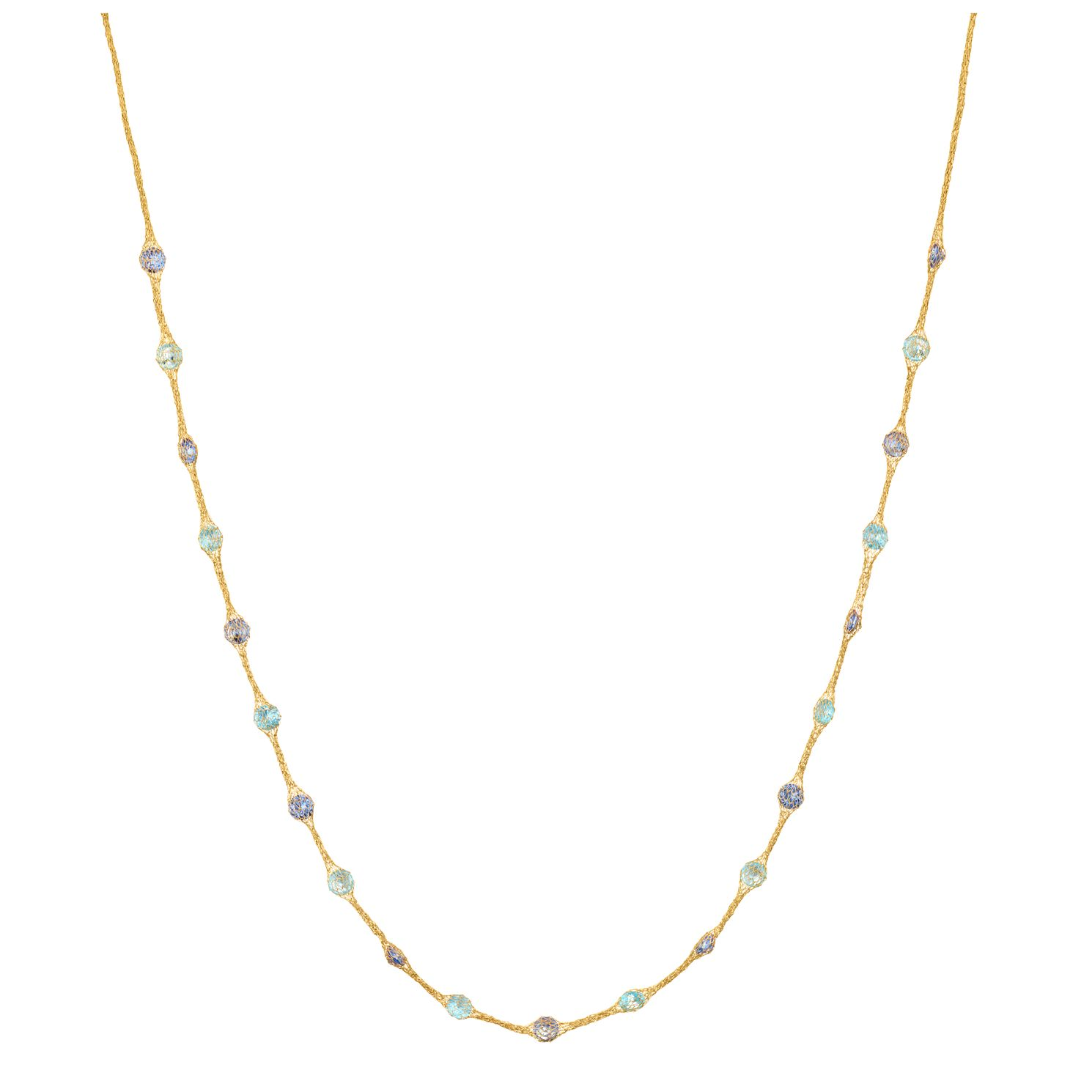9ct Yellow Gold & Blue Cubic Zirconia Mesh Necklet - Product number 9403353