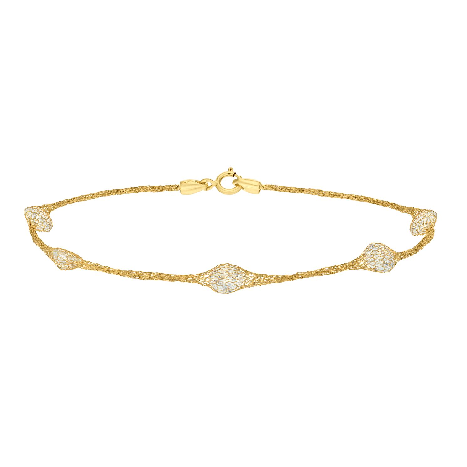 9ct Yellow Gold & White Cubic Zirconia Mesh Bracelet - Product number 9403388