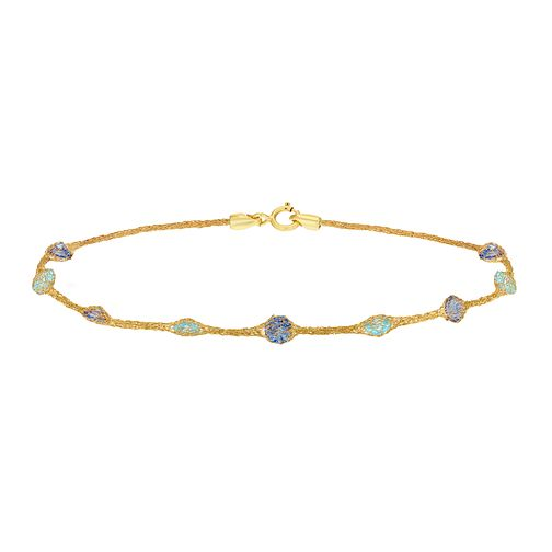 9ct Yellow Gold & Blue Cubic Zirconia Mesh Bracelet - Product number 9403450